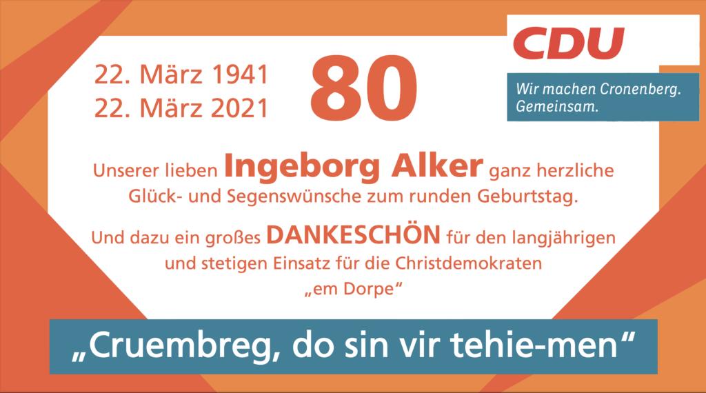 Glückwunsch an Ingeborg Alker